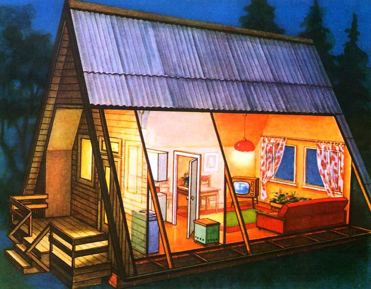 """Садовый домик, спроектированный по схеме  """"шалаш """" ."""