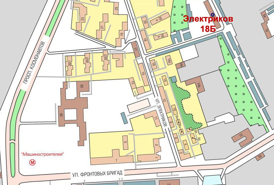 Схема проезда в компанию Светодиодные Технологии, город Екатеринбург, улица Электриков, 18Б.